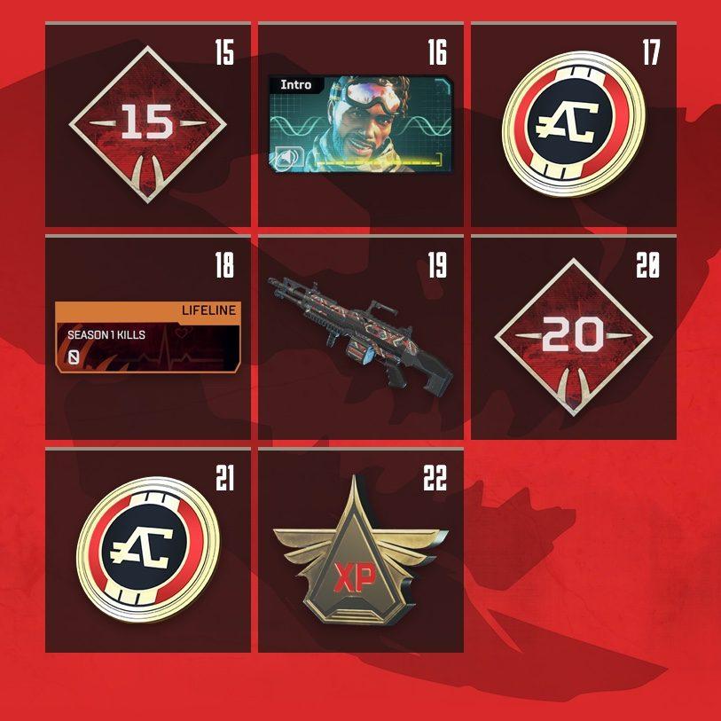 Apex Legends Rewards Level 15 to Level 22