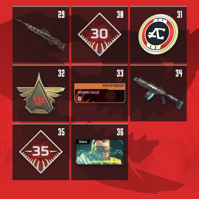Apex Legends Rewards Level 29 to Level 36