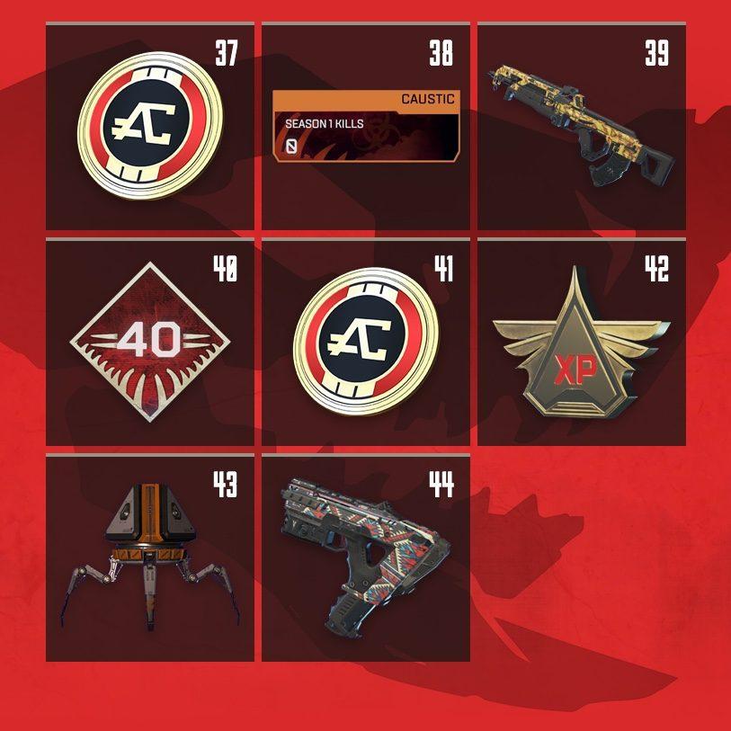 Apex Legends Rewards Level 37 to Level 44