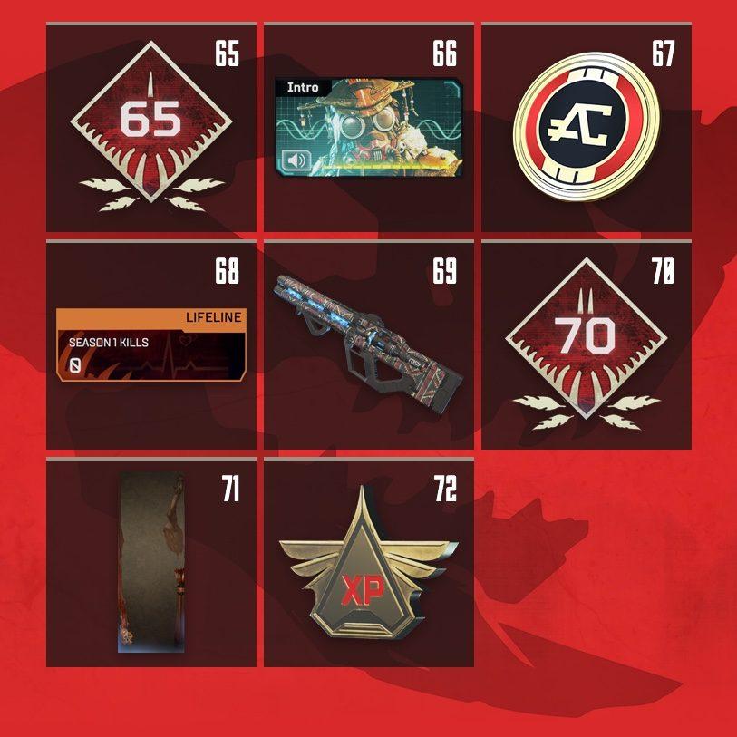 Apex Legends Rewards Level 65 to Level 72