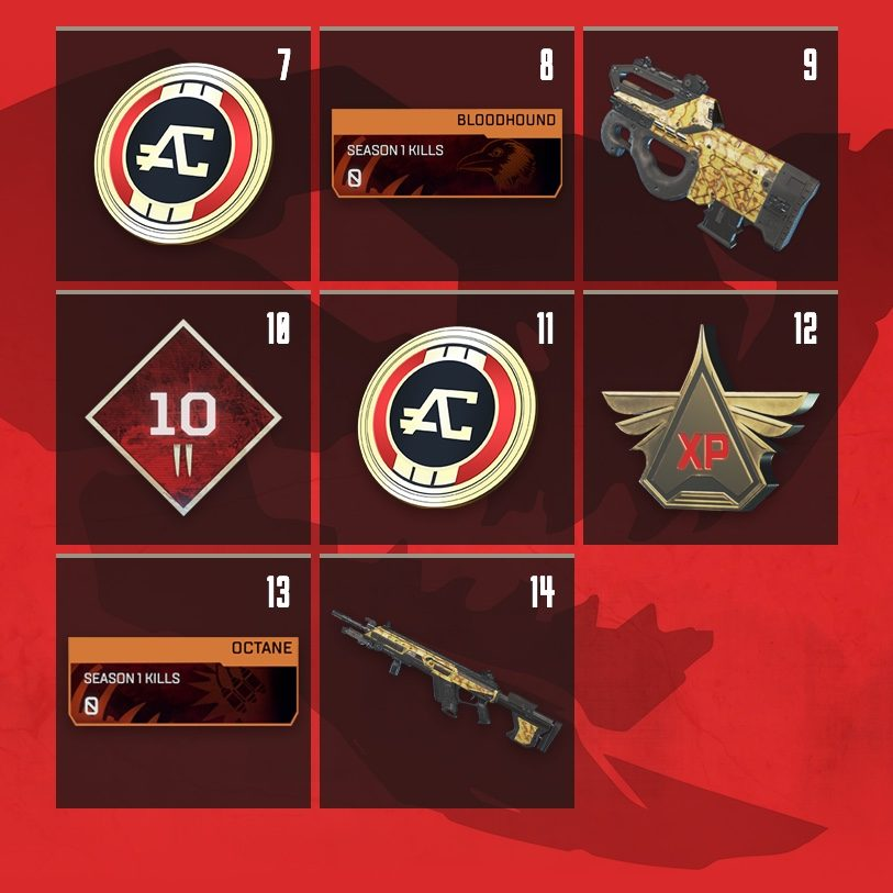 Apex Legends Rewards Level 7 to Level 14