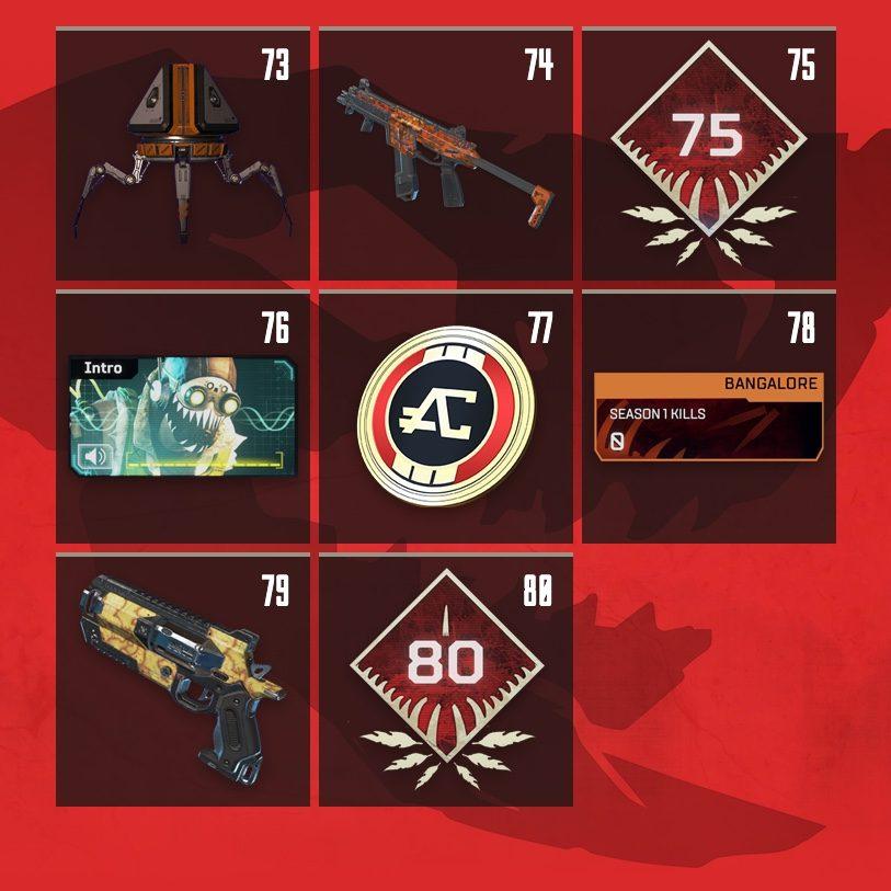 Apex Legends Rewards Level 73 to Level 80