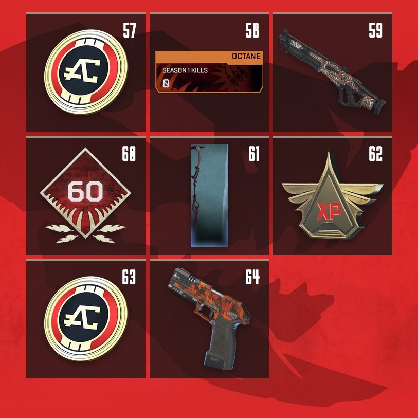 Apex Legends Rewards Level 57 to Level 64