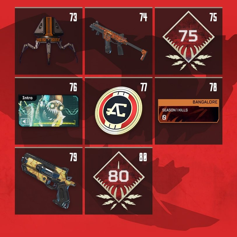 Apex Legends Rewards Level 73 to Level 80