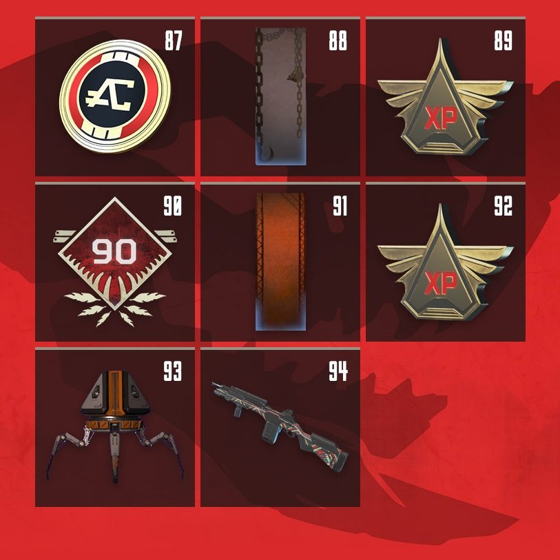 Apex Legends Rewards Level 87 to Level 94